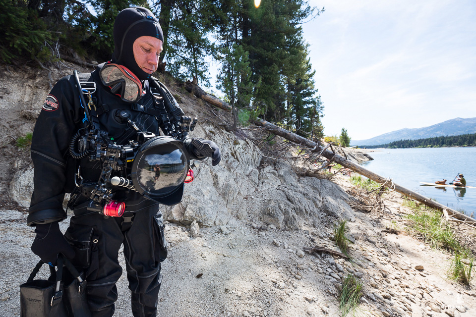 beach diving gear for camera rig